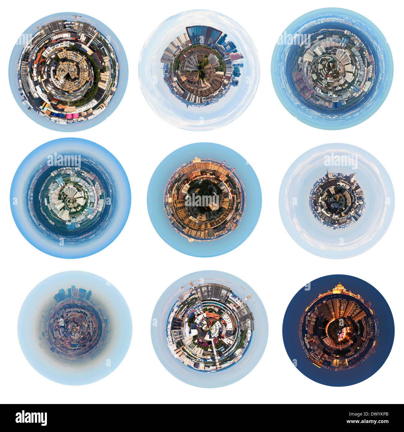set of urban spherical panoramic views of residential districts in Moscow - Stock Image