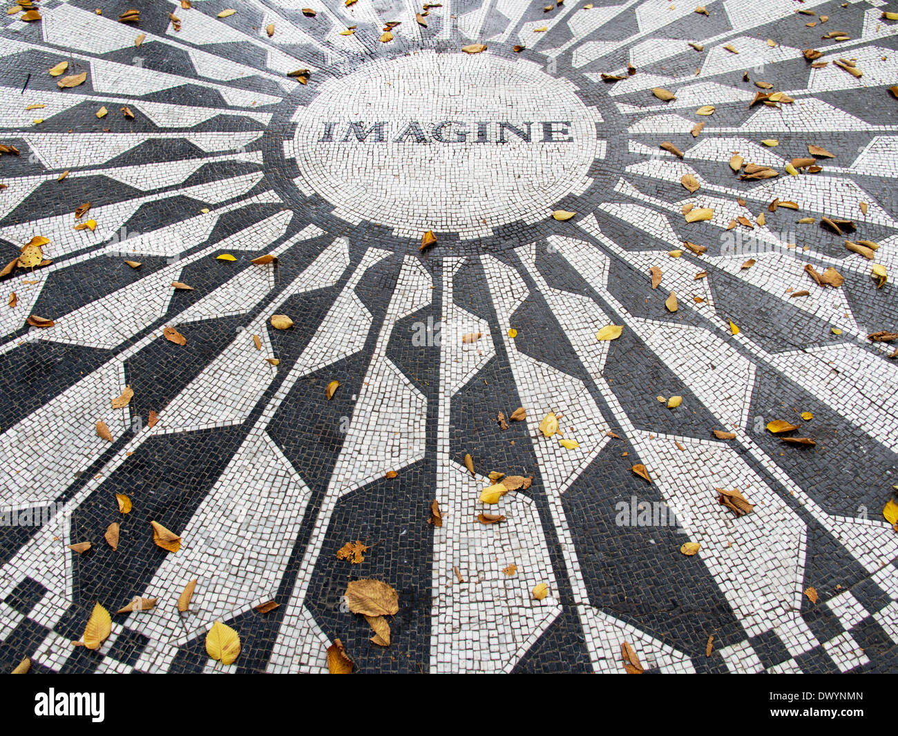 Memorial to John Lennon in Strawberry Fields in Fall, Central Park New York USA 3 - Stock Image