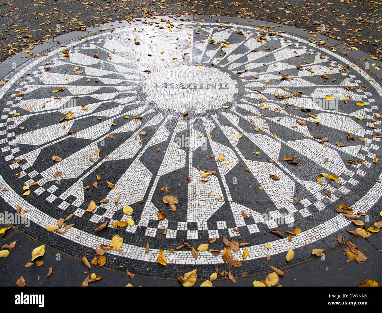 Memorial to John Lennon in Strawberry Fields in Fall, Central Park New York USA 2 - Stock Image