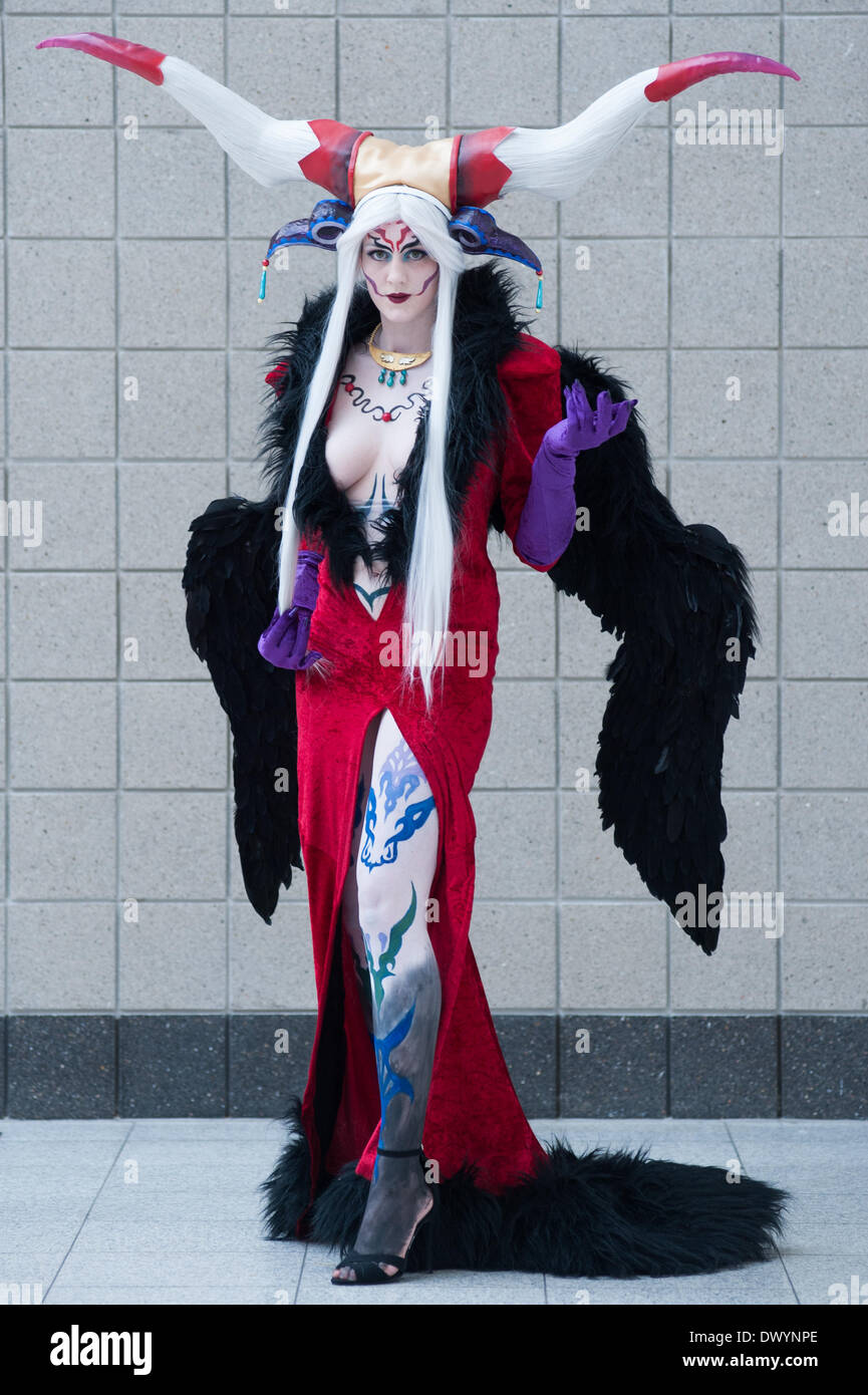 London, UK - 15 March 2014: a Kyokyo cosplayer dressed as  Ultimecia from Final Fantasy 8 poses for a picture during the London Super Comic Con at Excel. Credit:  Piero Cruciatti/Alamy Live News - Stock Image