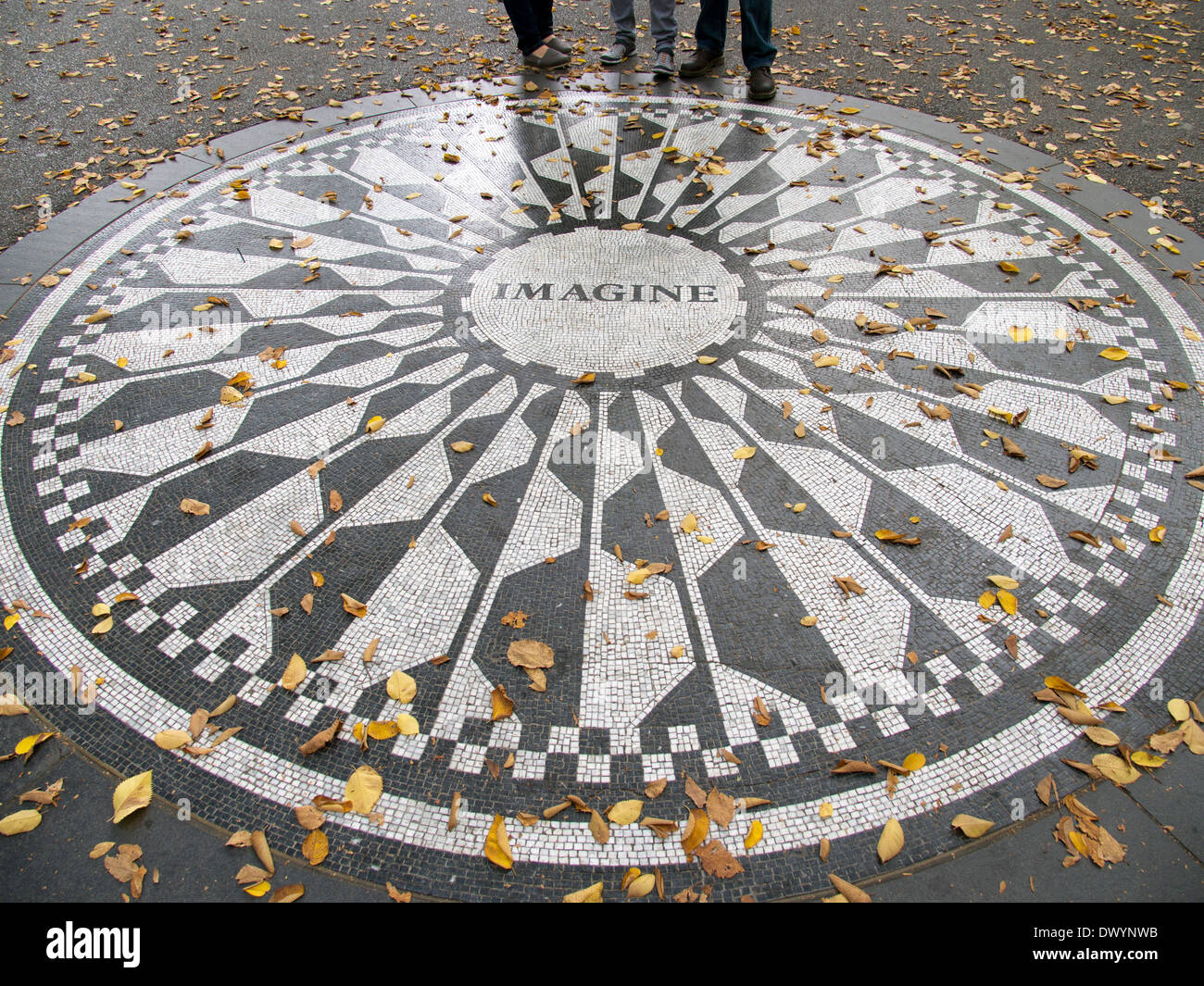 Memorial to John Lennon in Strawberry Fields in Fall, Central Park New York USA - Stock Image