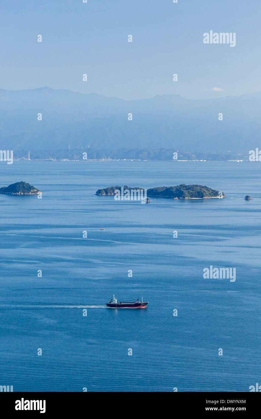 Ship Sailing into Seto Inland Sea, Imabari, Ehime Prefecture, Japan - Stock Image