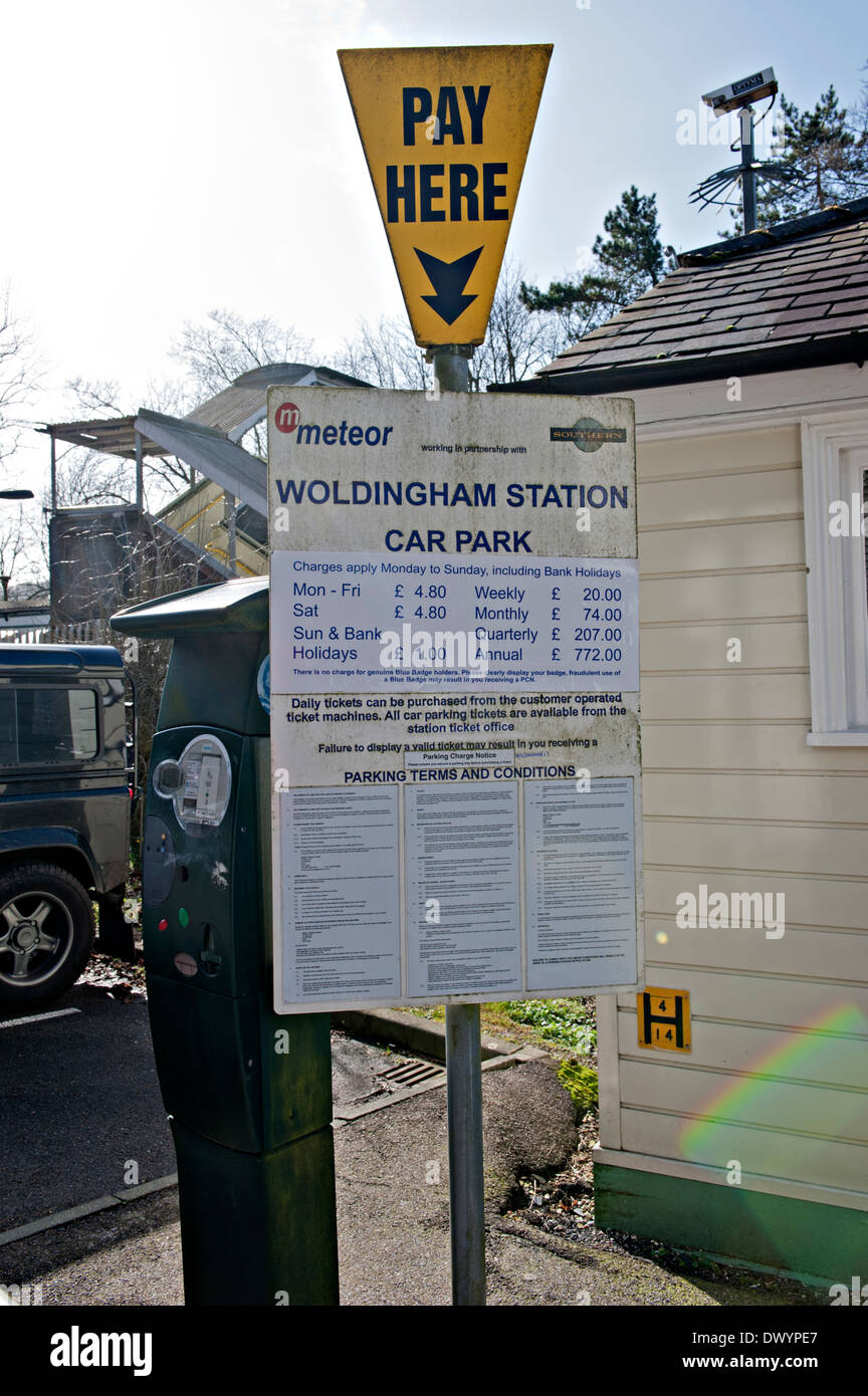 Pay and display sign at Woldingham Railway Station, UK - Stock Image