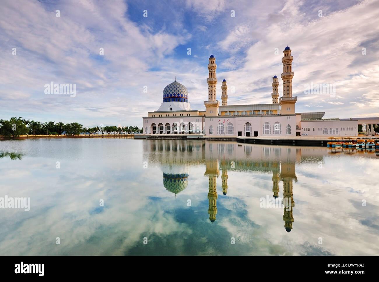 Kota Kinabalu Floating Mosque Day Time Image With Reflection Stock Photo