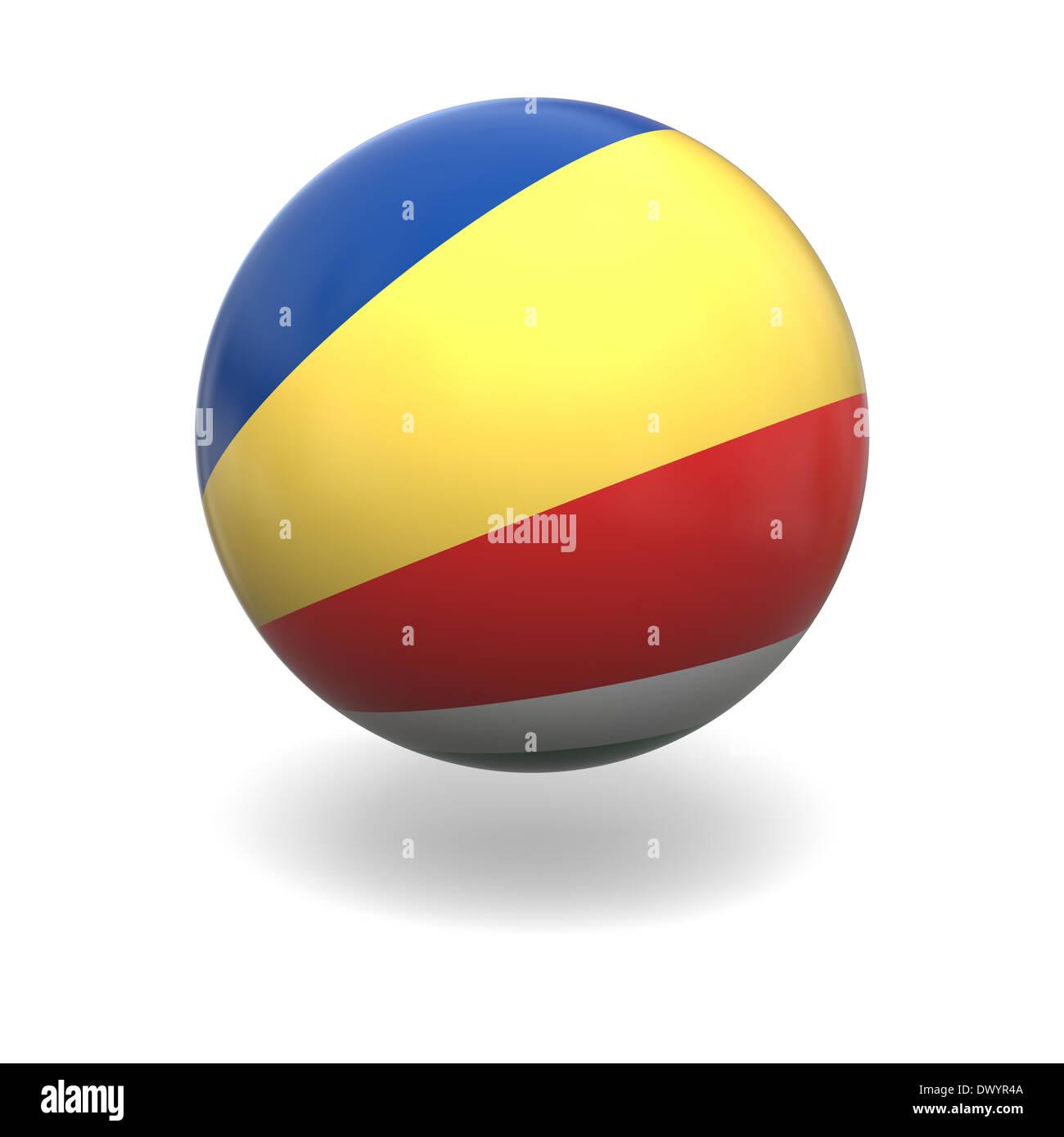 National flag of Seychelles on sphere isolated on white background - Stock Image