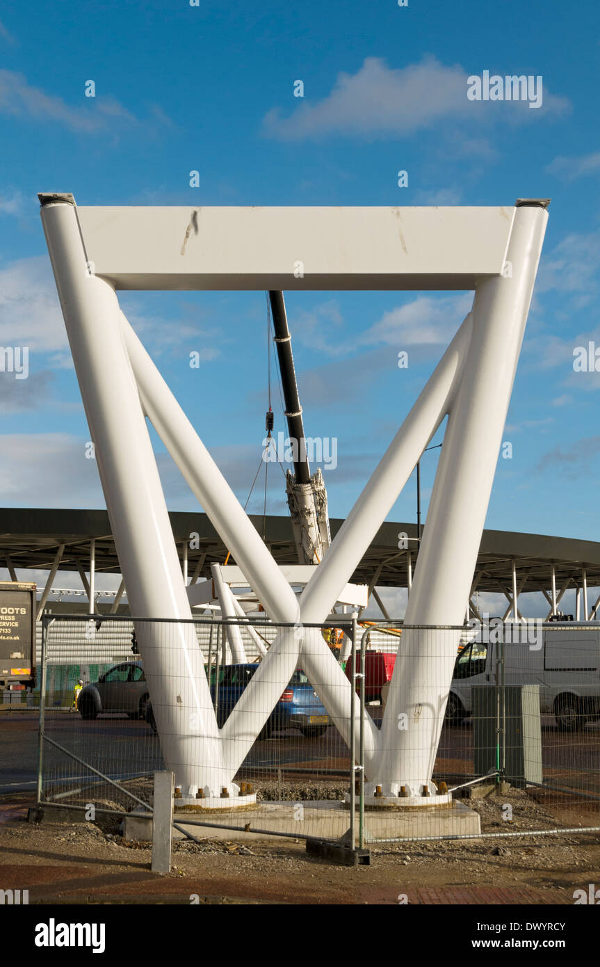 Support pillar of a footbridge under construction at the Etihad Campus, Clayton, Manchester, England, UK - Stock Image