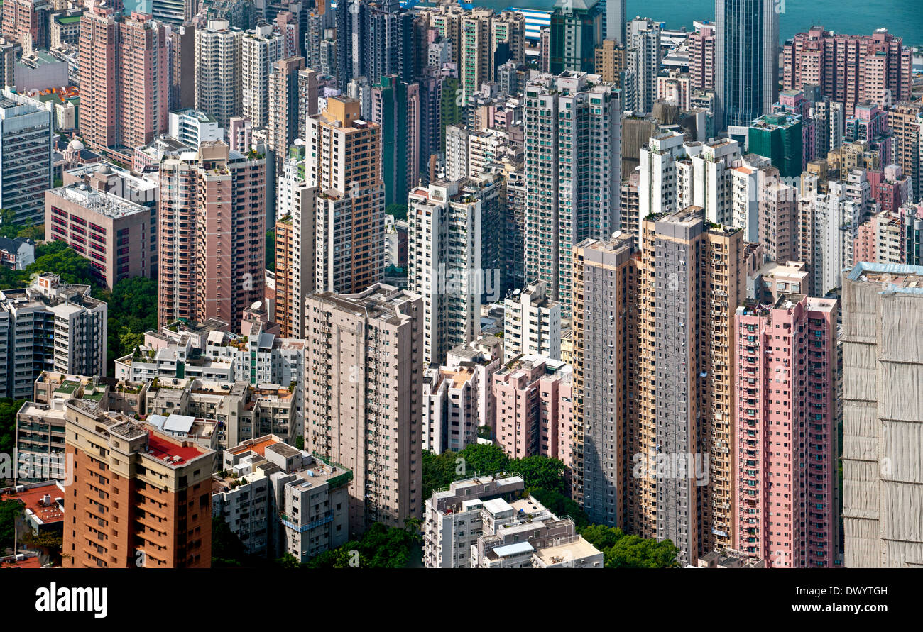 Looking down into concentrated urban accommodation in a high-rise jungle on Hong Kong Island Stock Photo