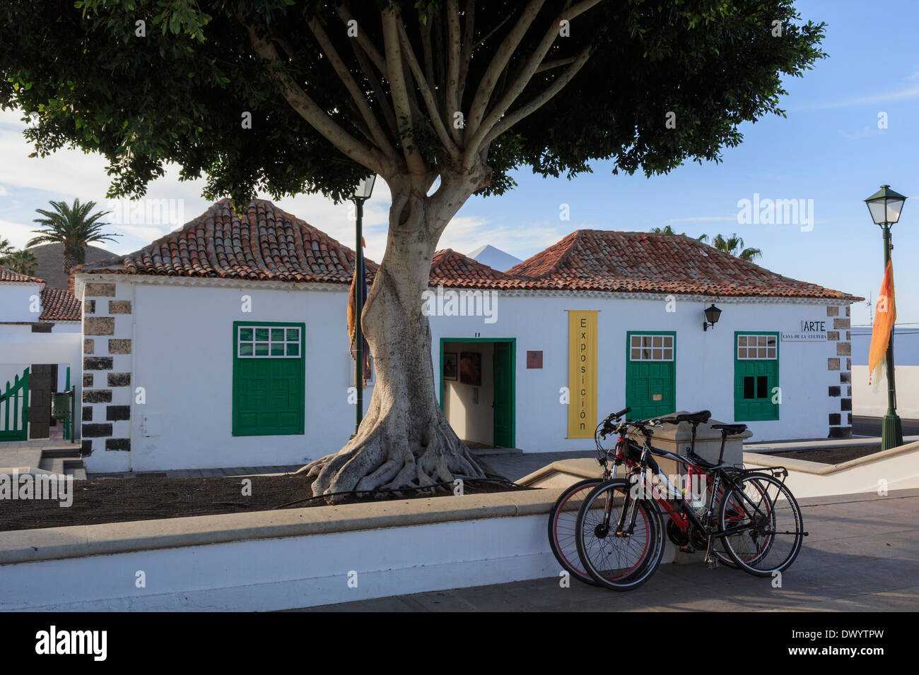 Casa de la Cultura or House of Cultural Exhibitions in typical Canarian building in old town square Yaiza Lanzarote Canary Isles - Stock Image