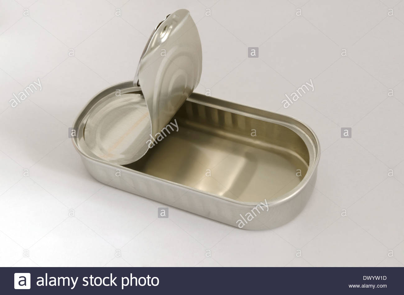 Close up of an empty can of anchovies - Stock Image