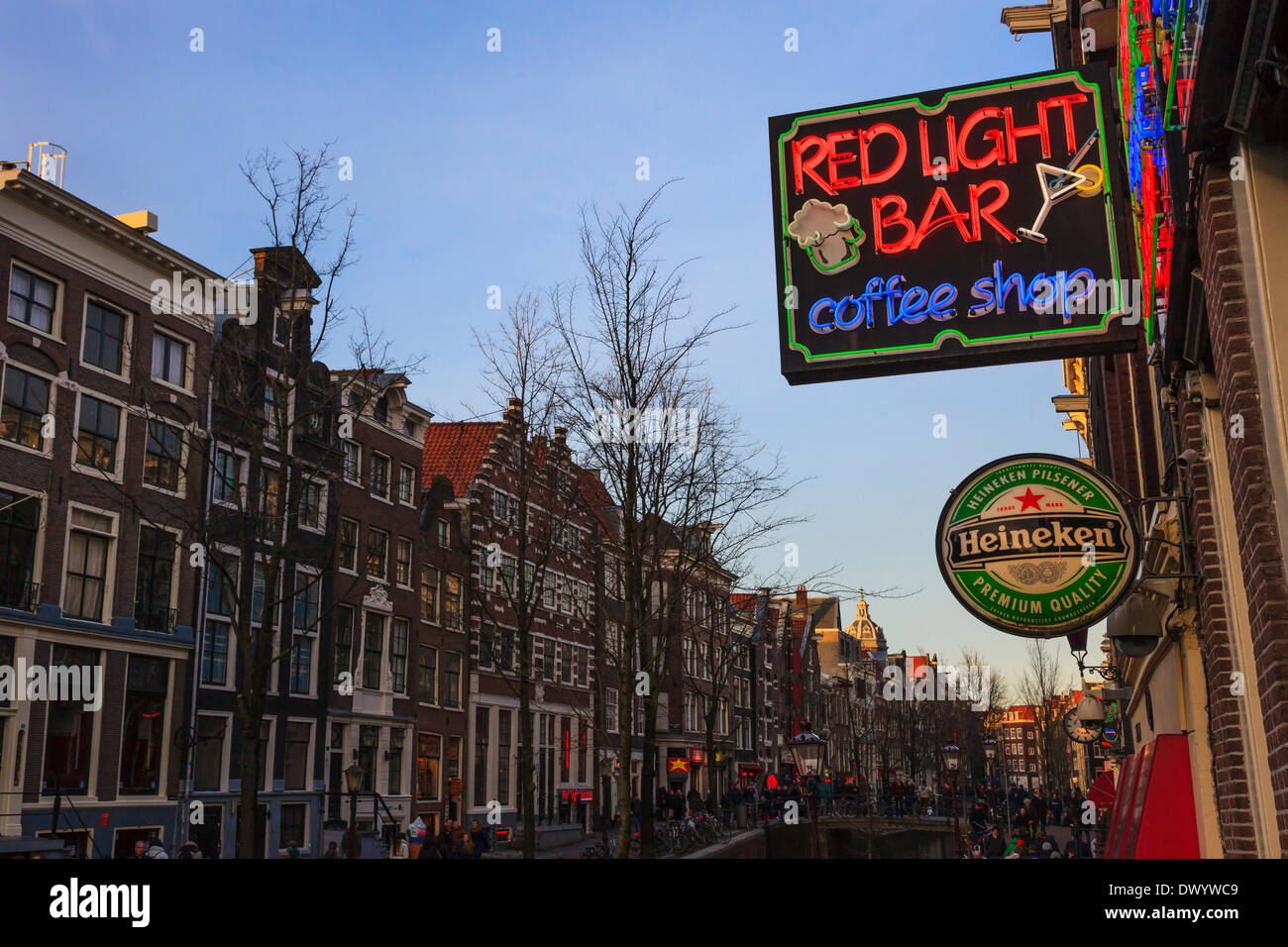 View of the red light district of amsterdam with a brown coffee view of the red light district of amsterdam with a brown coffee shop and bar neon sign netherlands aloadofball Gallery