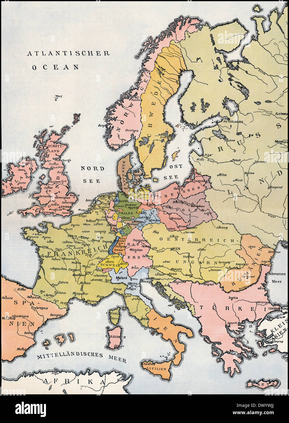 19th century map of europe Map of Europe, 1809, Historical illustration, 19th Century Stock
