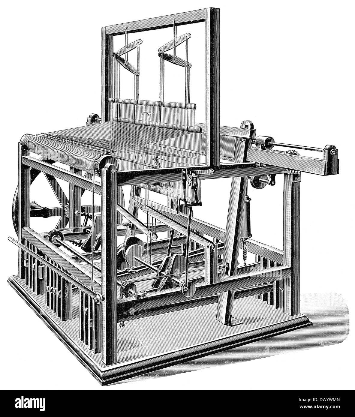 mechanical weaving loom, 19th century, - Stock Image