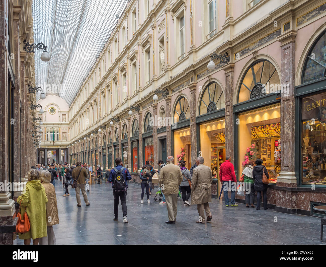 The Galeries Royales Saint-Hubert arcade in Brussels, Belgium. - Stock Image