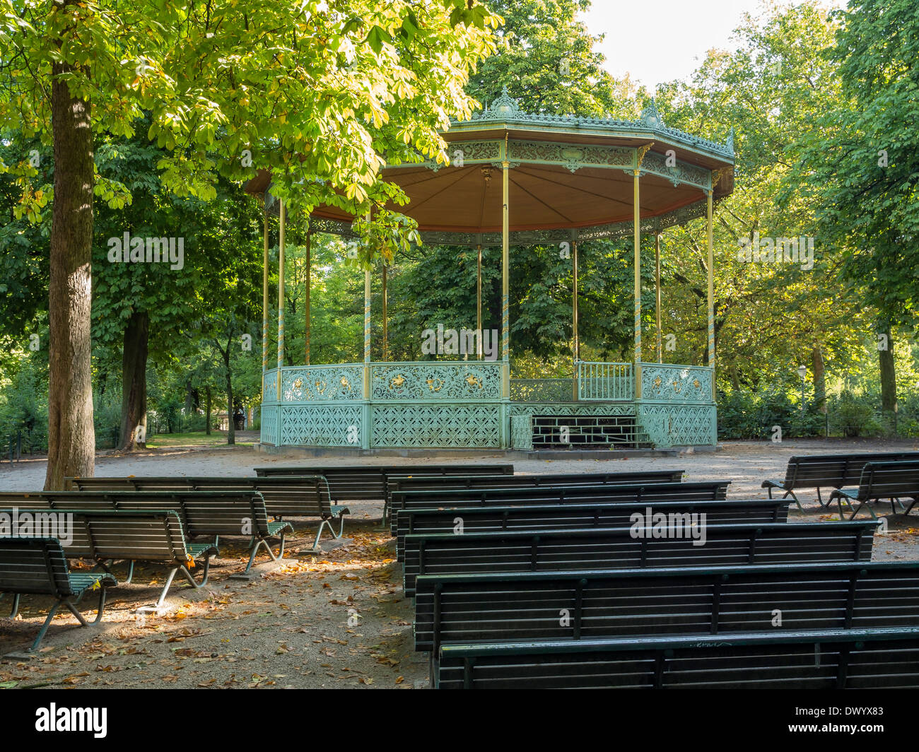 Bandstand and bench seats in Brussels Park, Belgium. - Stock Image