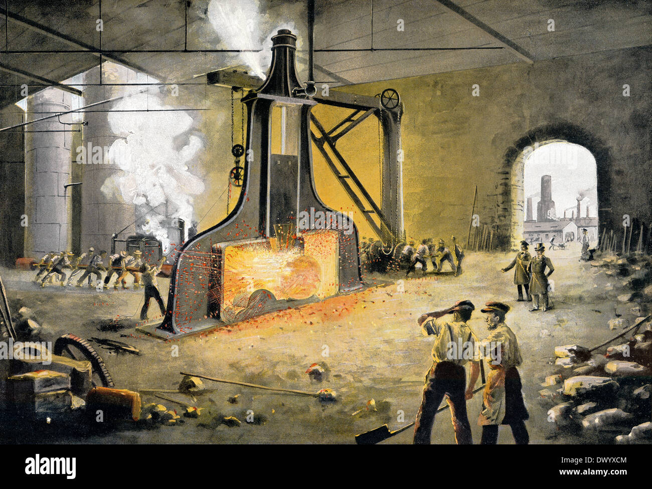 James Nasmyth's patent steam hammer, 1843, James Hall Nasmyth, a Scottish engineer and inventor, Stock Photo