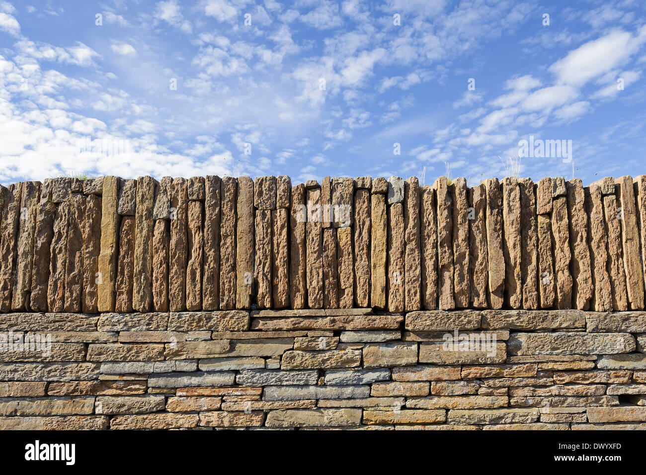 A new stone wall built with Caithness flagstones, Scotland. - Stock Image