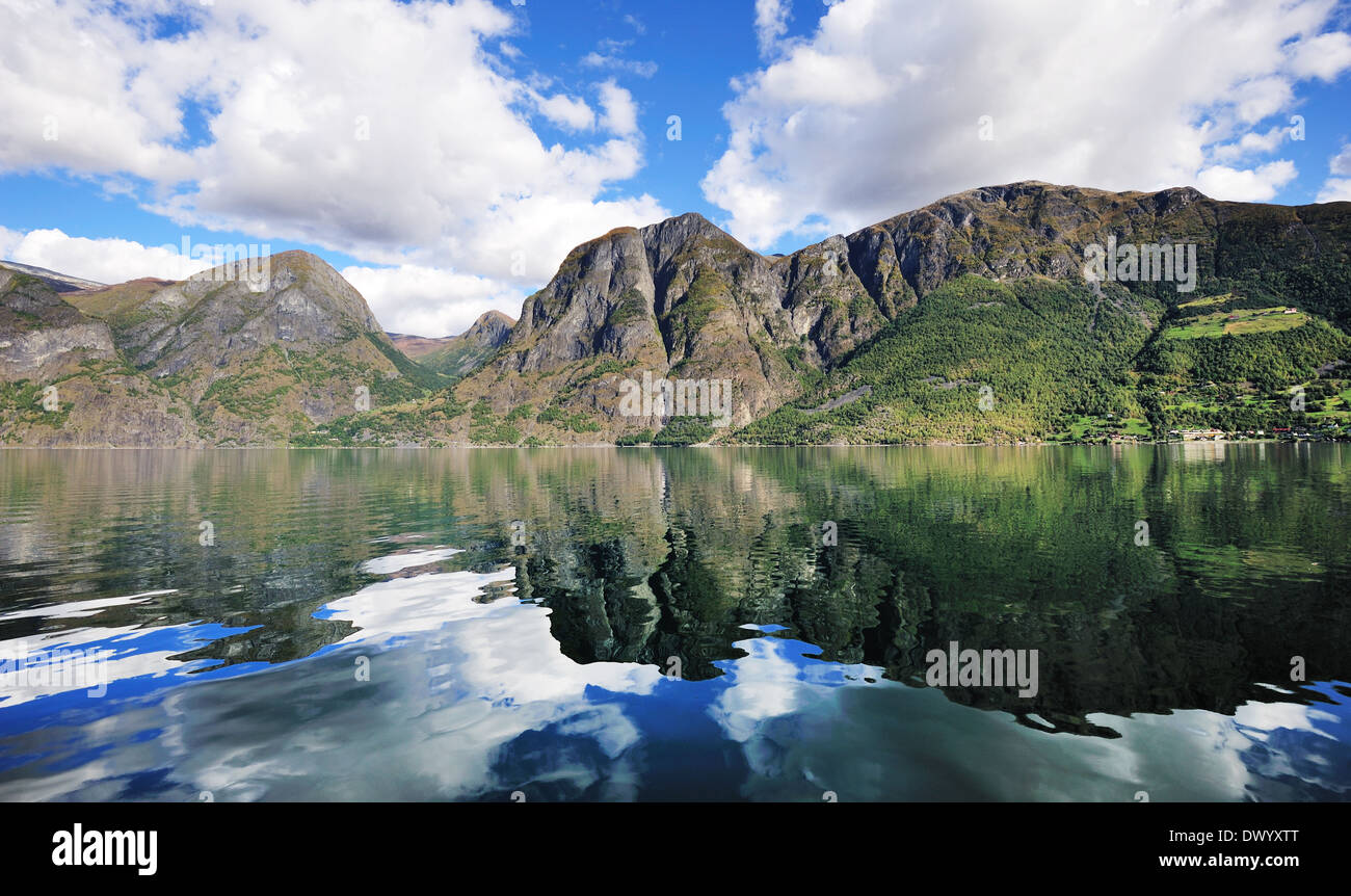 Reflection of a scenic fjords in Norway - Stock Image