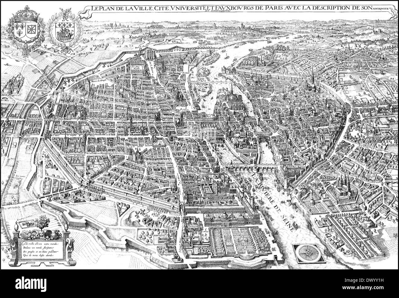 Historical cityscape, Paris, France, Europe, 18th Century, - Stock Image