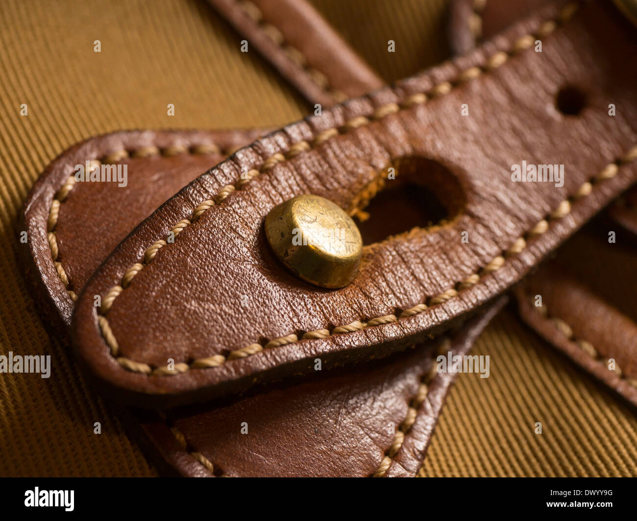 A hand stitched leather strap and buckle on a canvas camera bag. - Stock Image