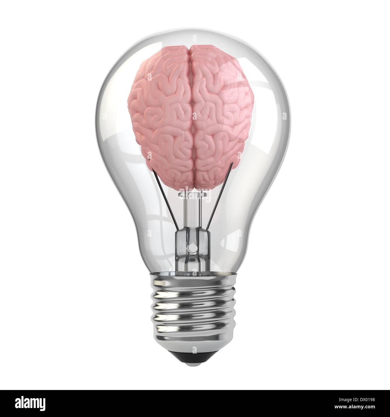 Glass Light Bulb Brain 3d Stock Photos Glass Light Bulb Brain 3d