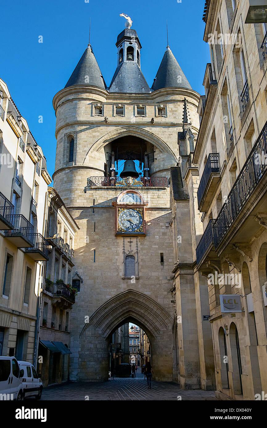 Medieval gate in Bordeaux, France - Stock Image