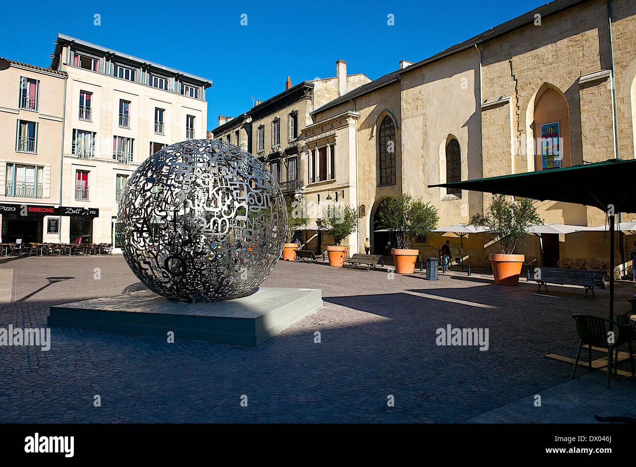 Artistic sphere in Bordeaux, France - Stock Image