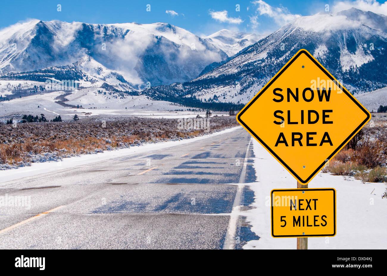 Snow Slide Area Sign - Stock Image
