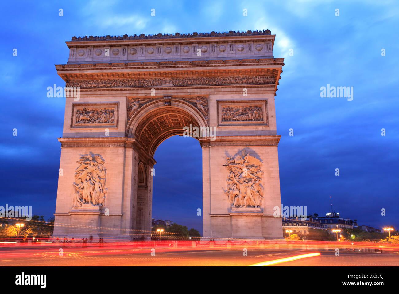Arc de Triomphe at dusk, Paris, France - Stock Image