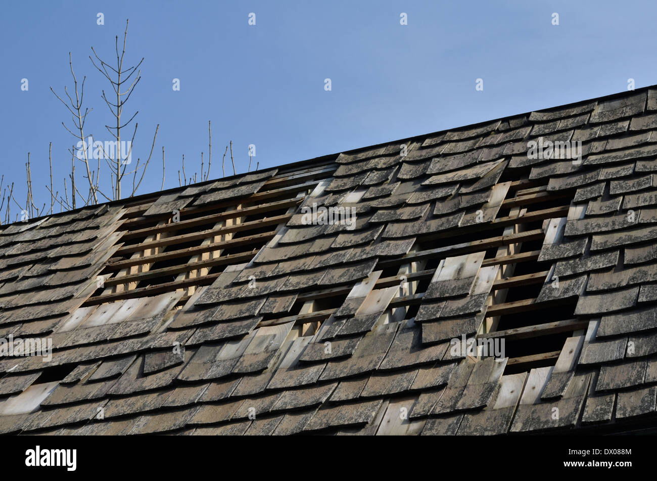 Wooden tiled roof damaged by storm. Possible poor workmanship metaphor. - Stock Image