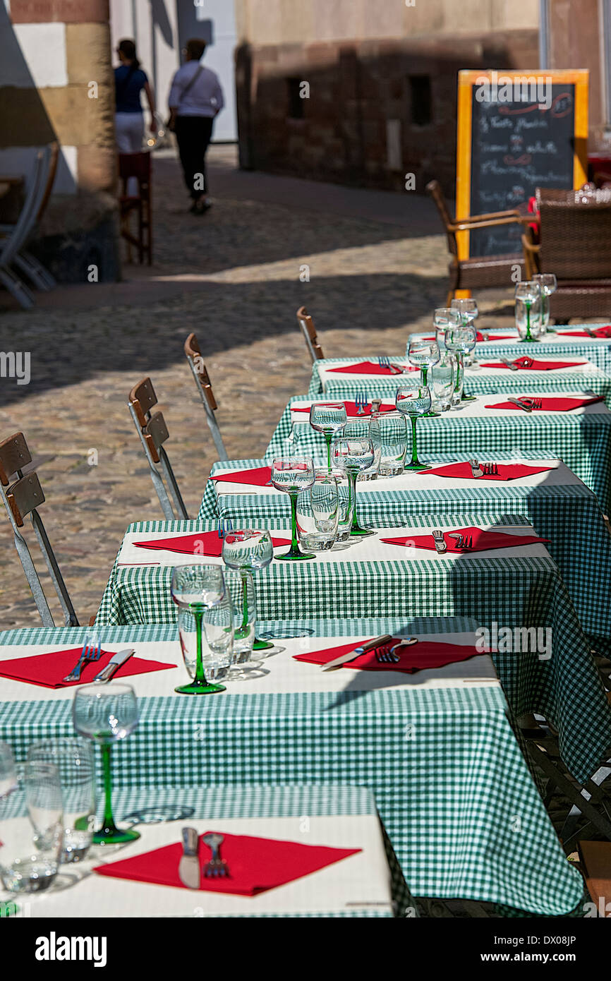 Cutlery prepared on Tables at a restaurant - Stock Image