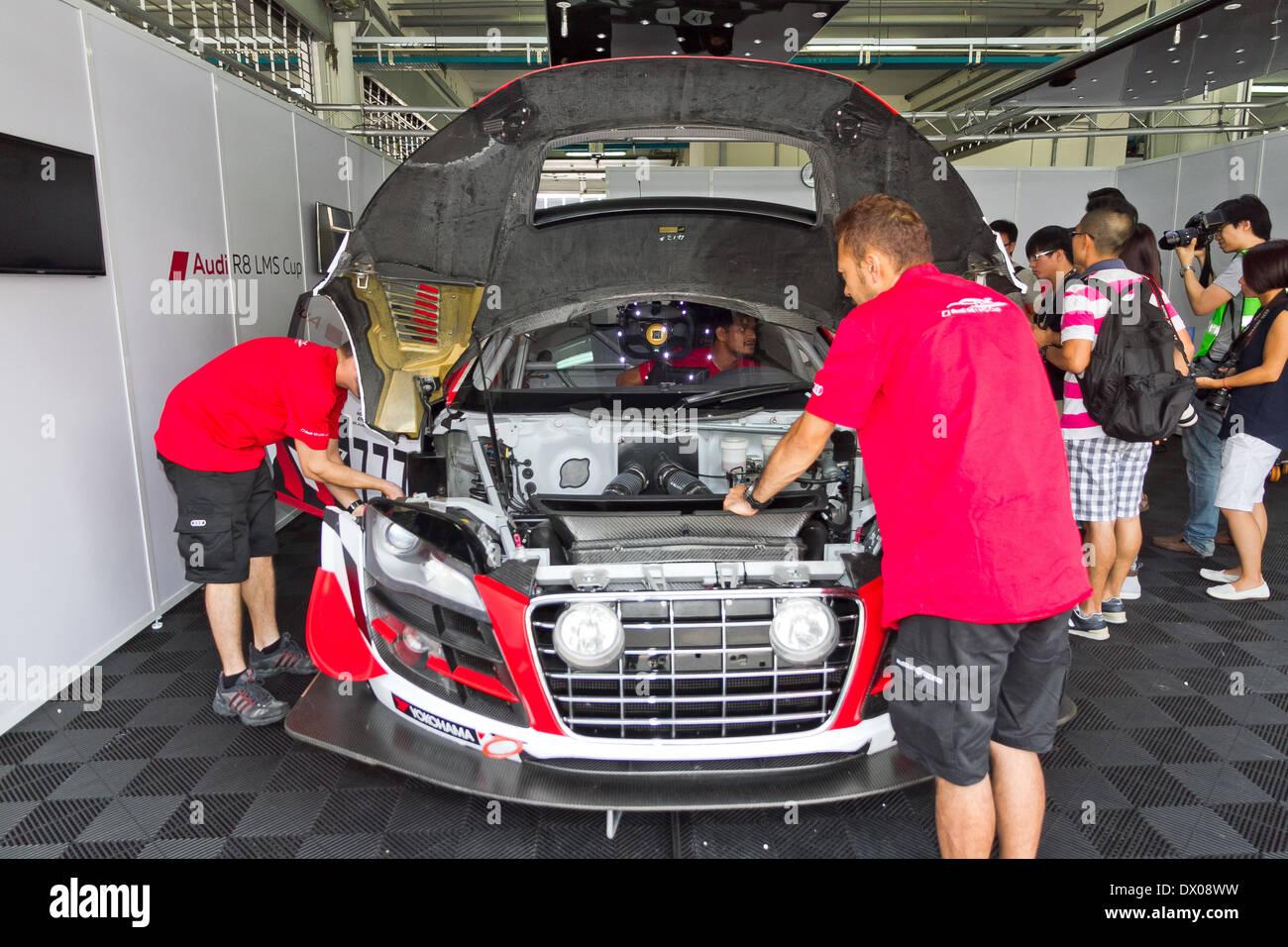 Audi LMS Cup 2013 Pit Work Shop Stock Photo