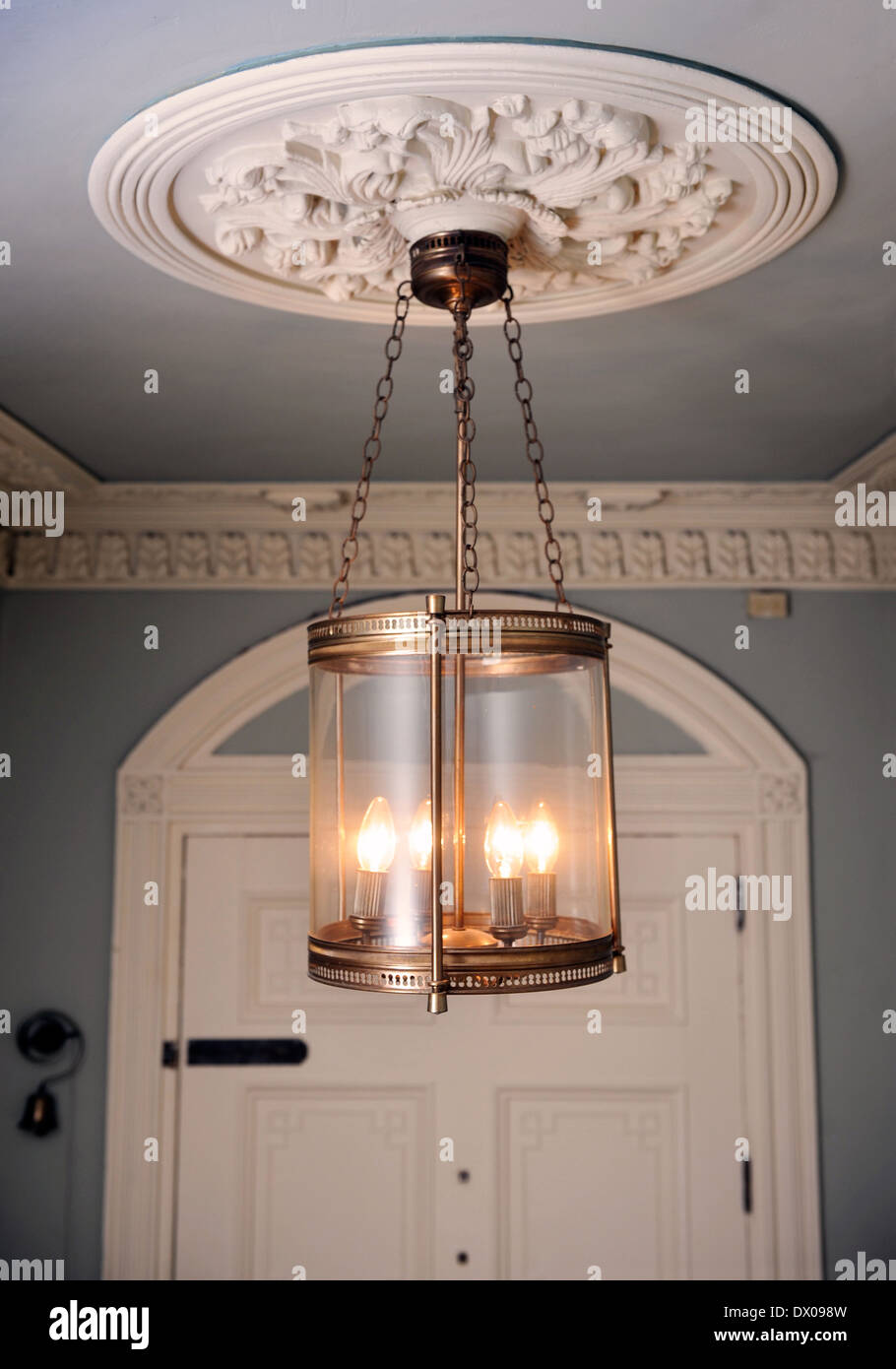 An Unusual Brass Lantern Hanging From Ornate Plaster Ceiling Rose In A Georgian Townhouse Bath UK