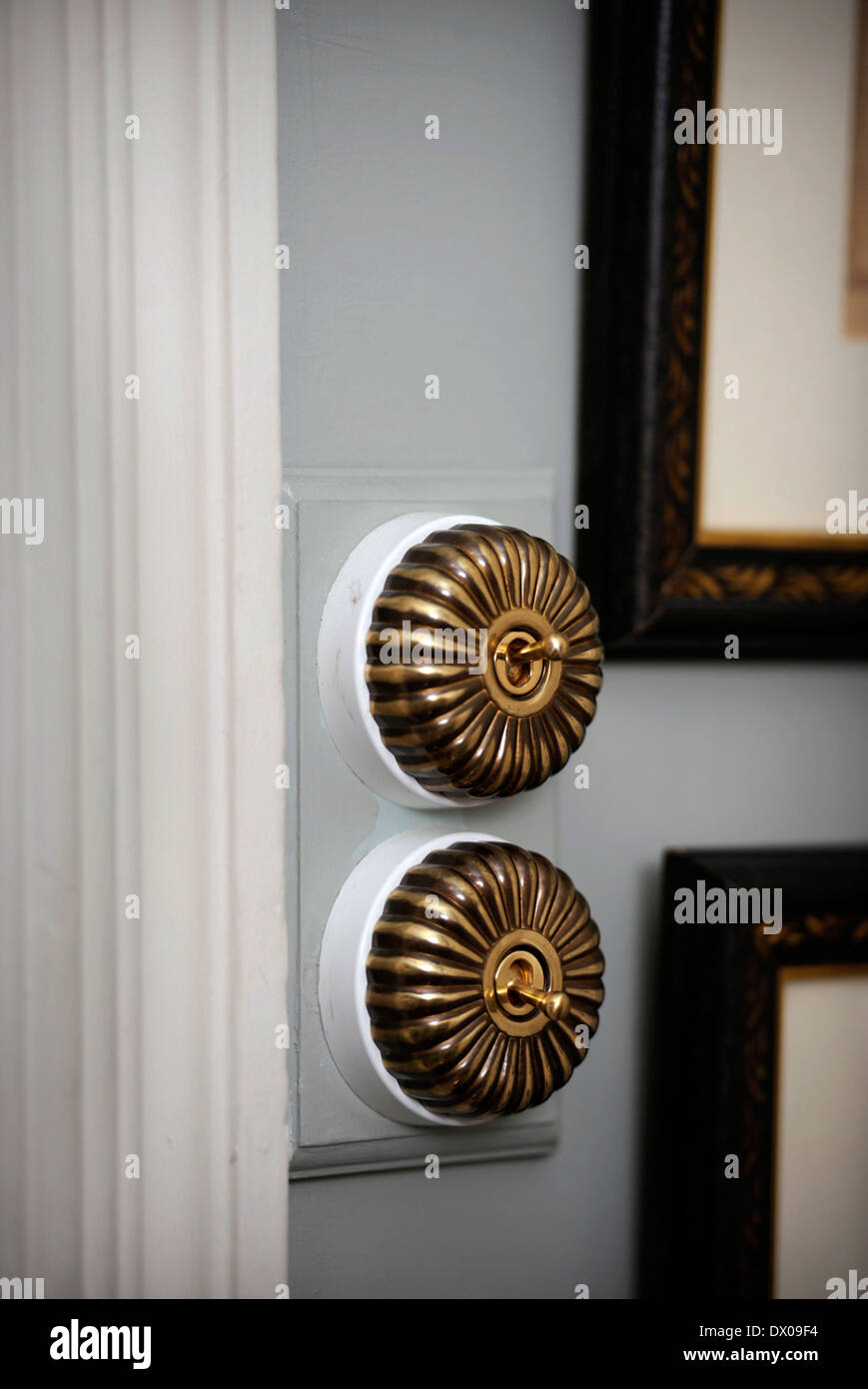 A Pair Of Traditional Brass Light Switches Uk Stock Photo Alamy
