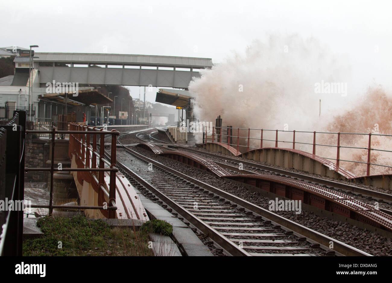 High Tide, Raging Sea Threatens the Railway line at Dawlish. - Stock Image