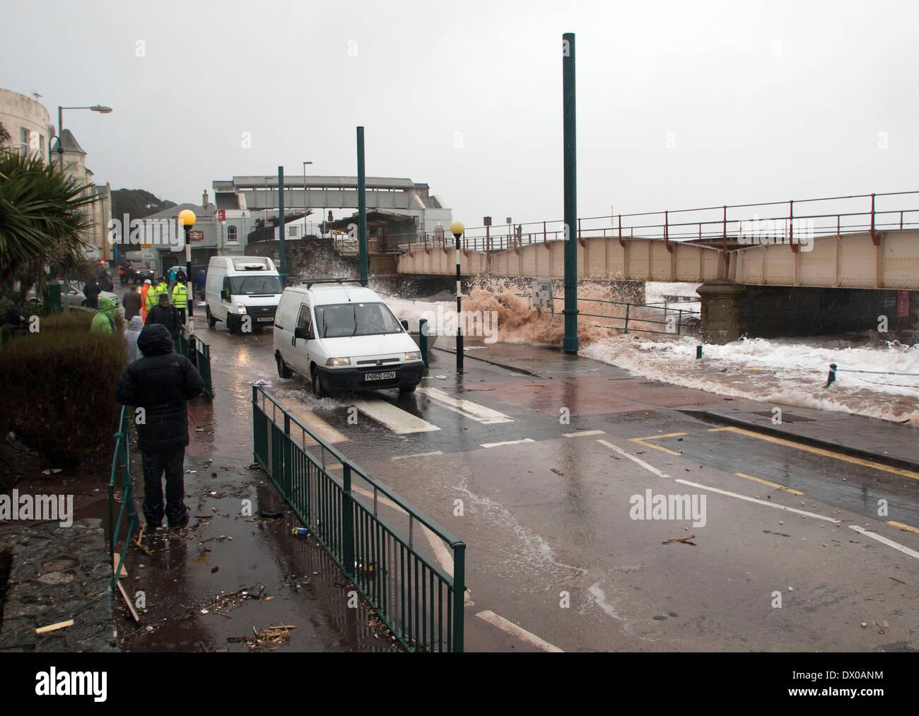 High Tide, Raging Sea Threatens the Railway line at Dawlish. Stock Photo