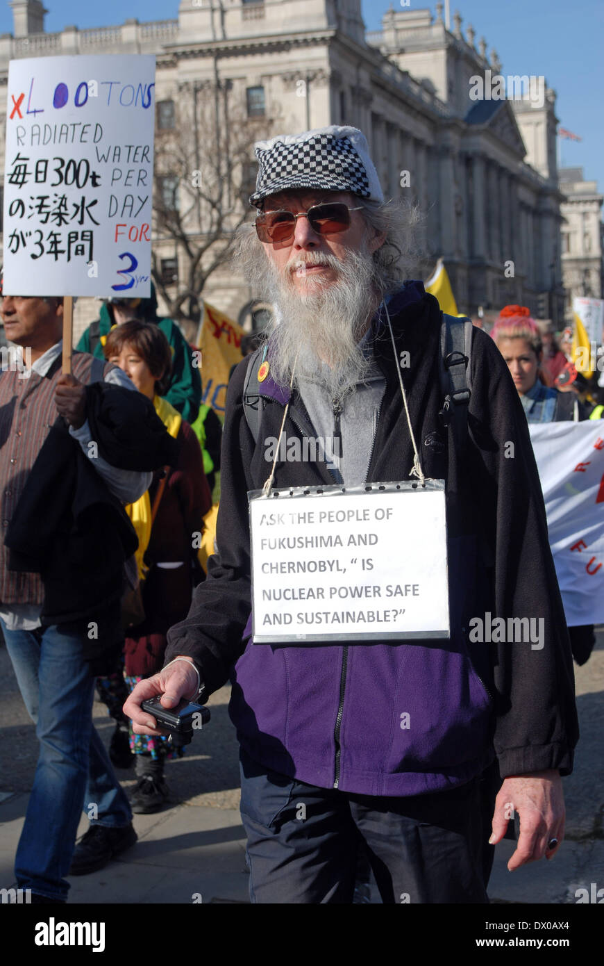 London, UK. 15th March 2014. Anti nuclear protest rally held outside Houses of Parliament. - Stock Image