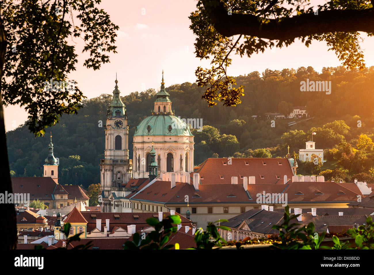 Dome and Bell Tower of Saint Nicholas' Church, Prague, Czech Republic. - Stock Image