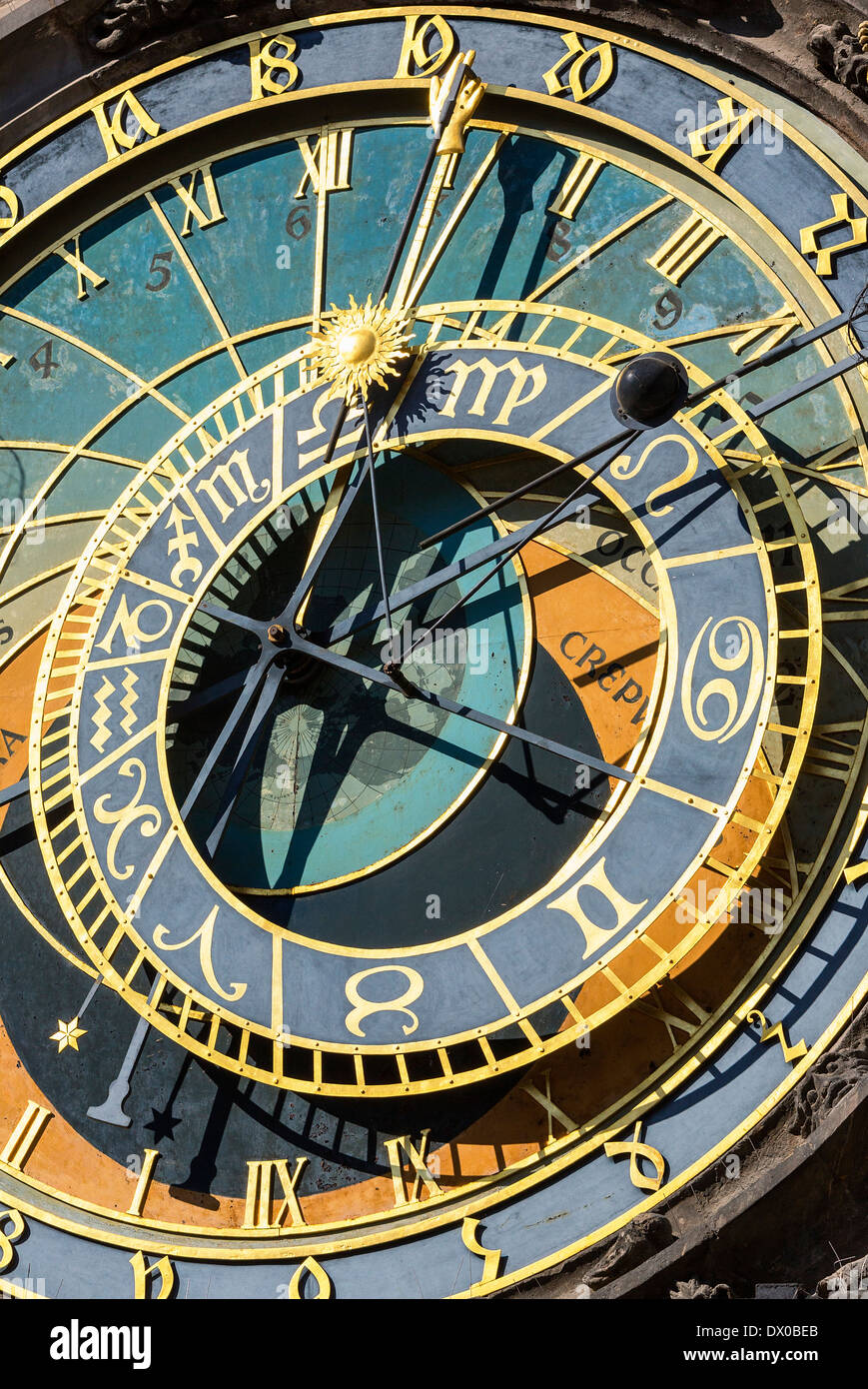 Astronomical clock, Town Hall, Old Town Square, Prague, Czech Republic - Stock Image