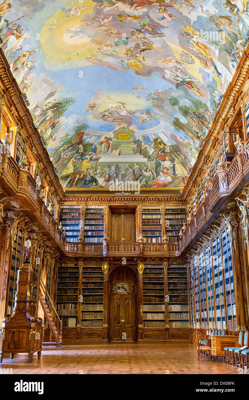 the interior of the Library in the Strahov Monastery, theological Room - Stock Image