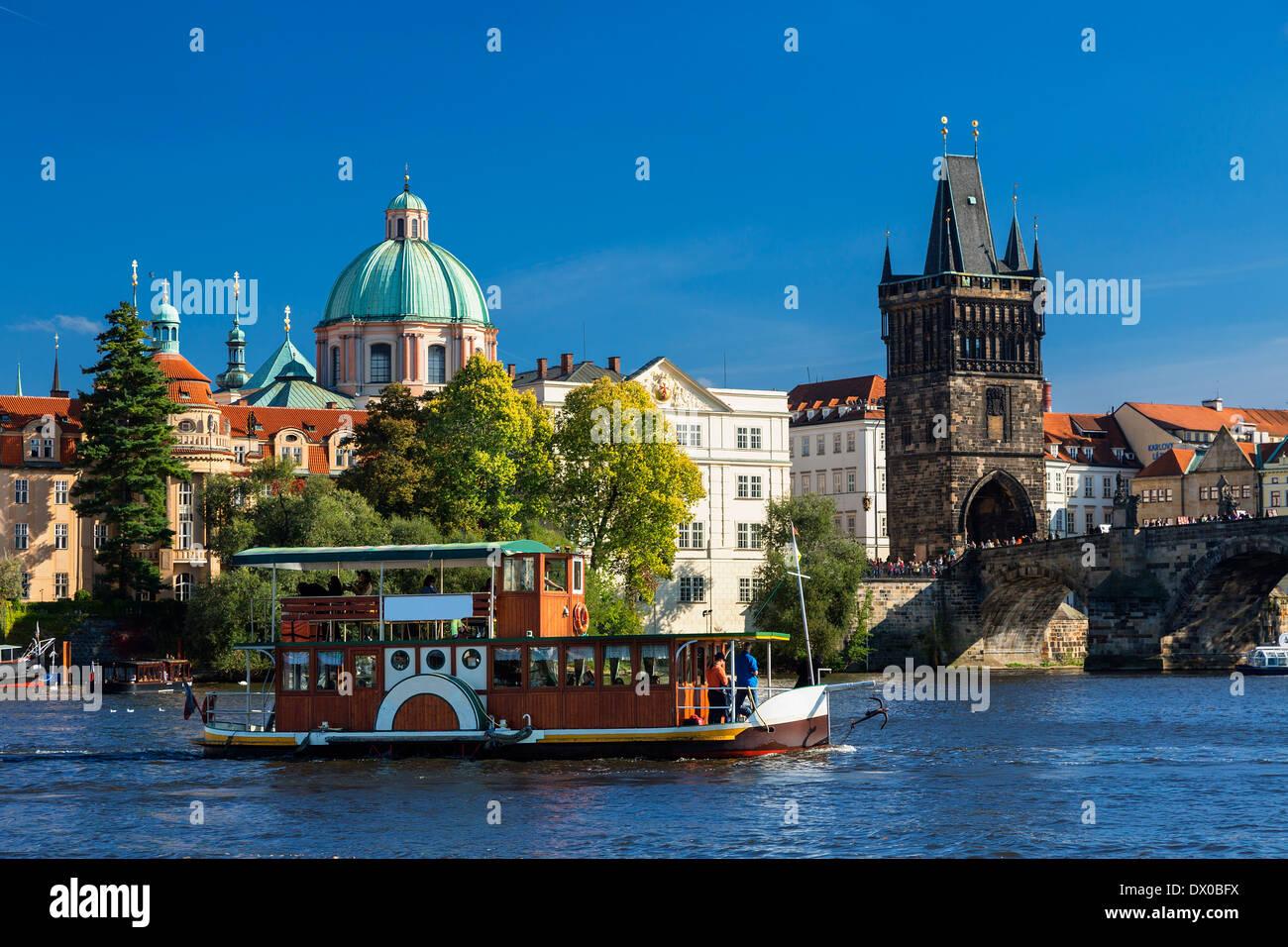 Prague, Tour boat on Vltava River - Stock Image
