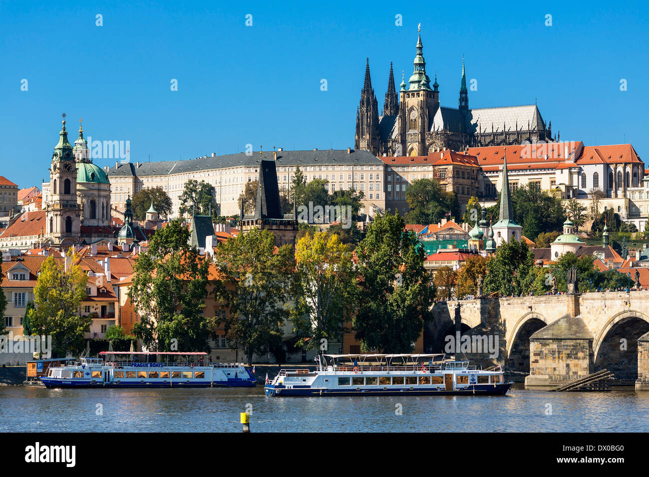 Prague, Castle and Cathedral Vltava River - Stock Image