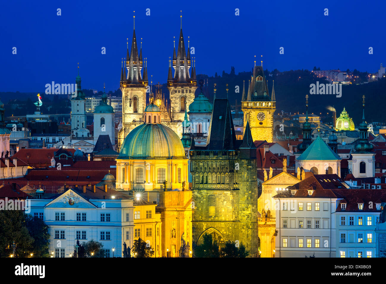 Czech Republic, Skyline of Prague at Dusk - Stock Image