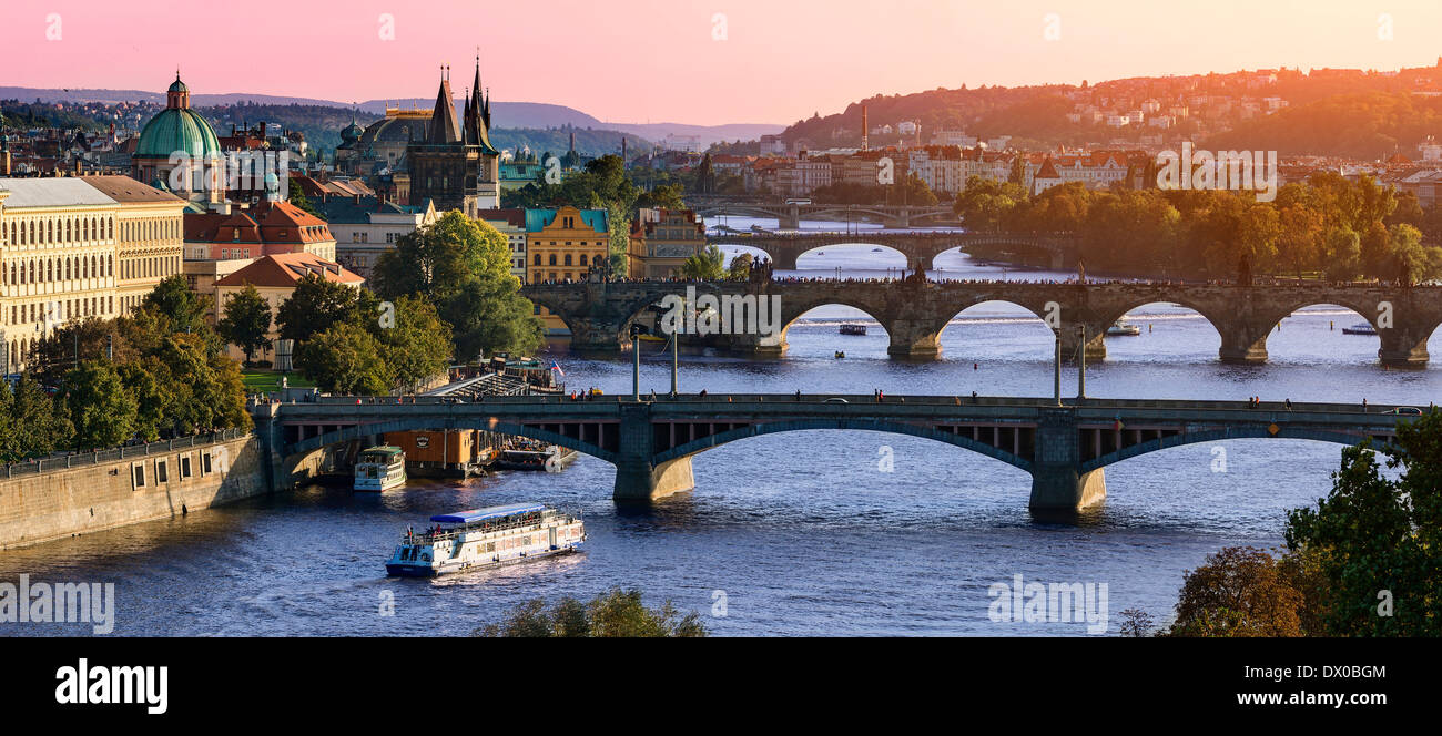 Over of Vitava river and Charles bridge and bridges of Prague. Stock Photo