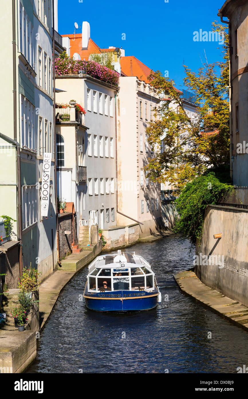 Prague, canal off the Vltava (Moldau) River Stock Photo