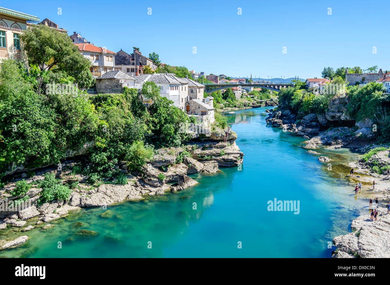 Beautiful river running through Mostar, Bosnia - Stock Image