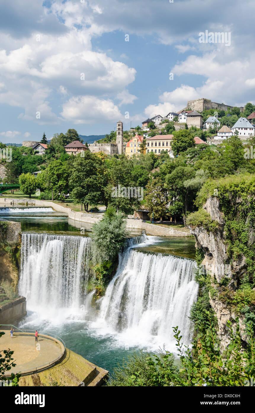 Waterfall in Jajce, Bosnia - Stock Image