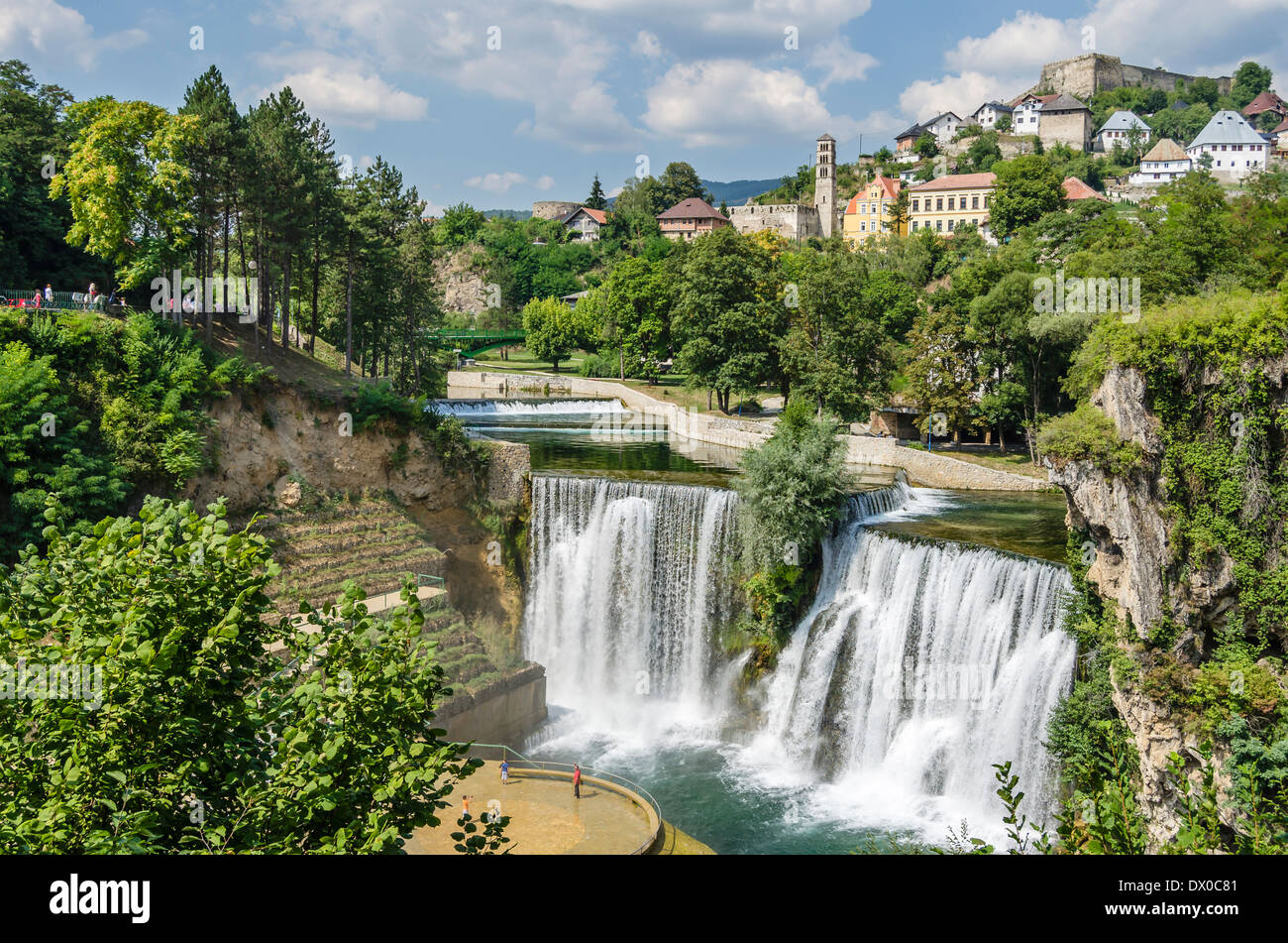 Waterfall in Jajce, Bosnia Stock Photo