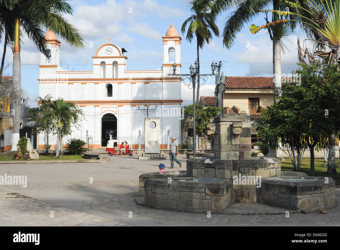 The colonial church of Copan ruinas on Houduras - Stock Image