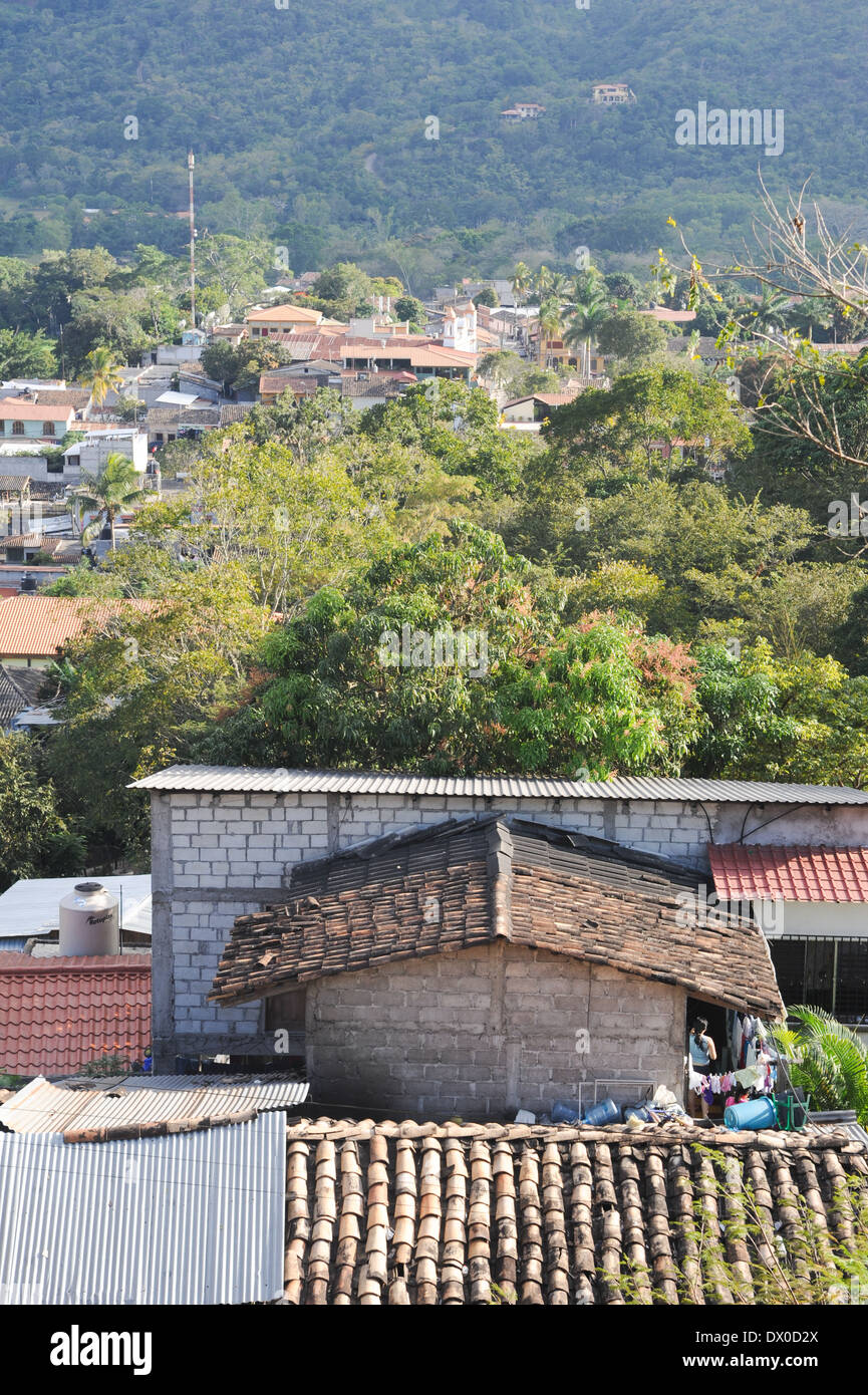 The village of Copan ruinas on Honduras - Stock Image