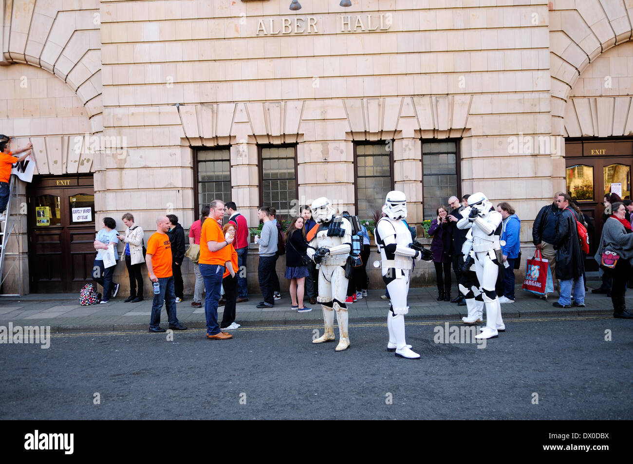 Nottingham, UK. 16th Mar, 2014. 16th March 2014.Hundreds of Sci-Fi fans descended on Nottingham's Albert Hall for first ever EM-CON convention .Guest included Craig Charles, Ben Miller, Danny John-Jules, and a host of other stars.Albert Hall, Star Wars stormtroopers. Credit:  Ian Francis/Alamy Live News - Stock Image